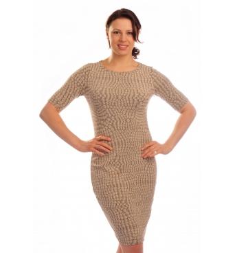 """MD1042 - dámské šaty béžové """"oblázky"""""""