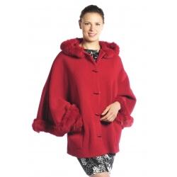 BARLETTA - dámská pelerína s kožíškem - 5 barev