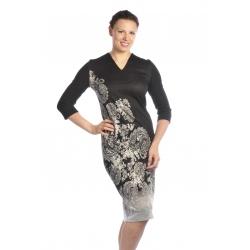 D3928 - dlouhé dámské šaty s květinovým vzorem