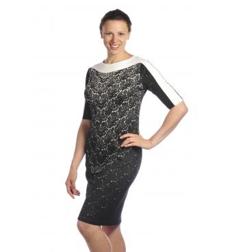 D3897/ A - dámské šaty černobílé