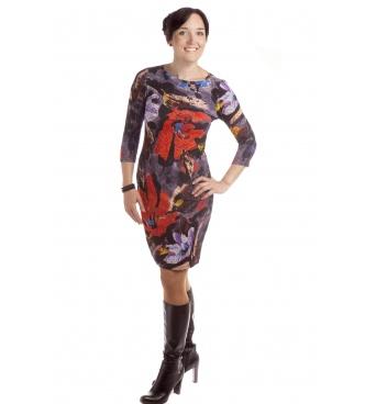 MD1305 - dámské šaty červený květ