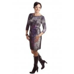MD 1431 - dámské šaty vínovofialová mozaika