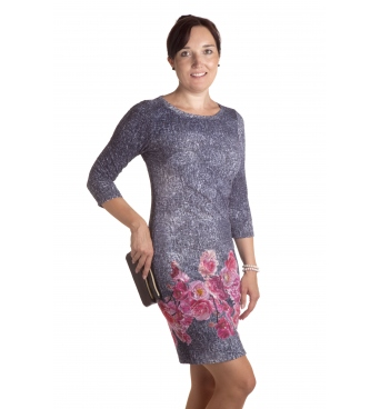 MD1636 - dámské šaty růžový květ