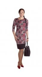 MD1657 - dámské šaty červený květinový vzor