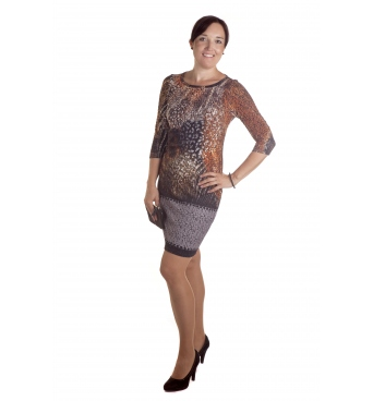 MD1638 - dámské šaty hnědá mozaika