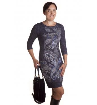 MD1582 - dámské šaty modrobílý vzor