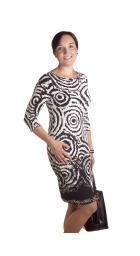 MD1593 - dámské šaty černobílé kroužky