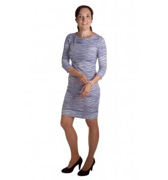 MD1585 - dámské šaty modrobílé vlnky