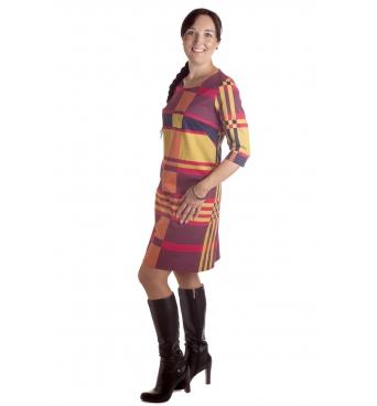 D4795  - dámské šaty barevný vzor