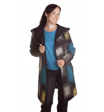 D4786 - dámský kabát barevné kostky