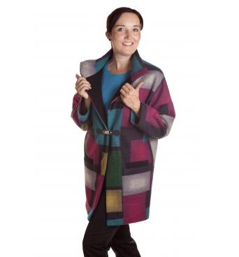 D4785 - dámský kabát barevné kostky