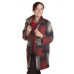 D4764 - dámský kabát barevné kostky