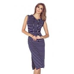 MM012-1  -Kangurka - dlouhé dámské šaty námořnický proužek