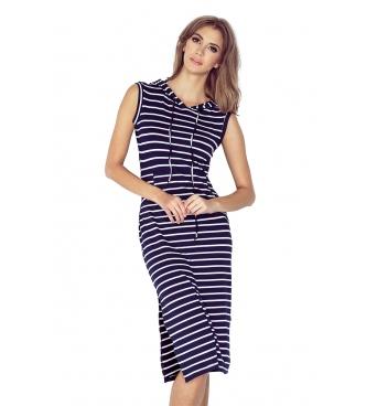 MM012-1  -Kangurka - dámské šaty námořnický proužek dlouhé