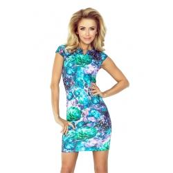 132-7 -dámské šaty modrozelený květ