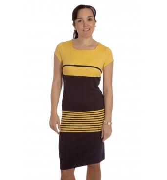 S 3/1 - dámské šaty modrožluté proužky