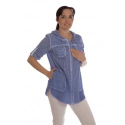 Kaptur - dámská dlouhá tunika jeans