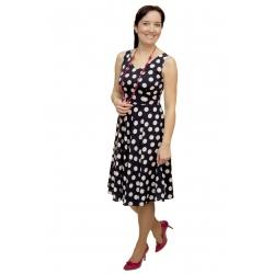 Iwa - dámské tmavomodré šaty s bílými puntíky