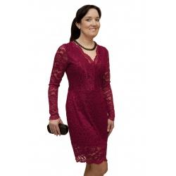 NM 170-5 - dámské krajkové šaty bordó