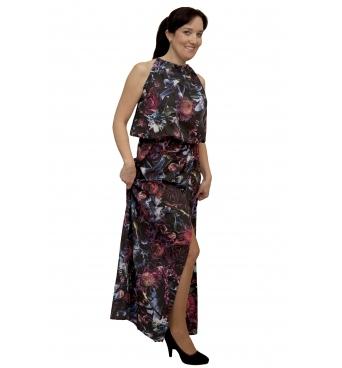 NM 191-1 - dámské maxi šaty  černé s fialovými květy