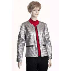 D3513 B -  dámský kabátek stříbrný