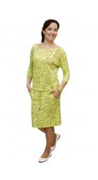 NM 13-35 - dámské šaty žlutozelené nápisy