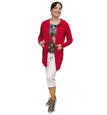 AL 4429 - dámský  dlouhý  červený  kardigan