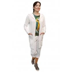 AL 4429 - dámský  dlouhý  bílý  kardigan