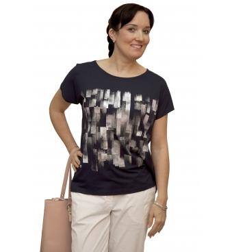 W 525 - dámské tričko vzor tmavomodré