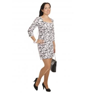 NM136-1 - dámské šaty černobílé elipsy