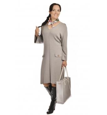 M1704 - dámské šaty Pagony šedé