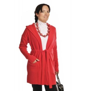 IM2726 - dámský dlouhý vlněný kardigan červený