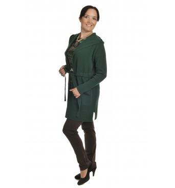 IM2726 - dámský dlouhý vlněný kardigan zelený