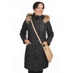 Mika - dámská delší zimní  bunda s pravým kožíškem