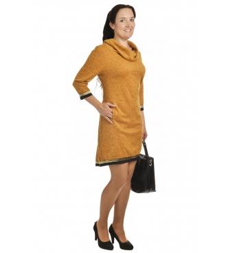 Lampas - dámské šaty hořčičné