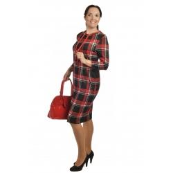 Sznurek  -  dámské šaty červenočerná kostka