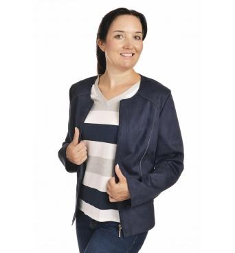 ST452 - dámský semišový kabátek tmavě modrý