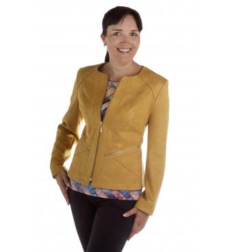 ST452 - dámský semišový kabátek žlutý