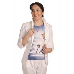 AST1060 - dámské bílé bavlněné sako