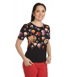 K136 - dámské tričko balony černé krátký rukáv