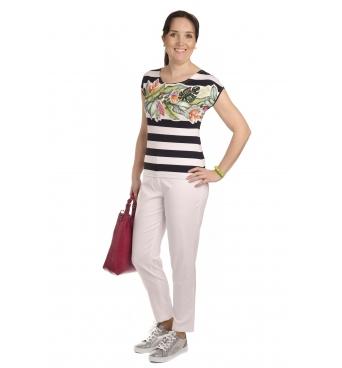 K020-133T  - dámské tričko barevné listí v pruzích