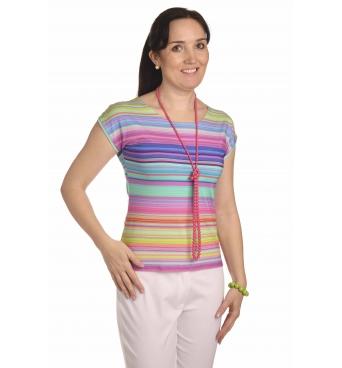 K020-129T - dámské tričko duhové proužky