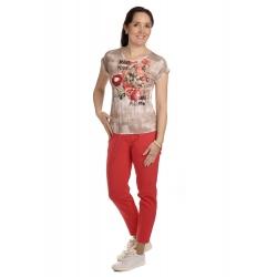 K020-127T - dámské tričko růžový pugét