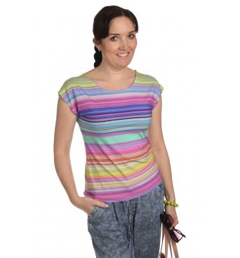 K020-129K - dámské tričko duhové proužky