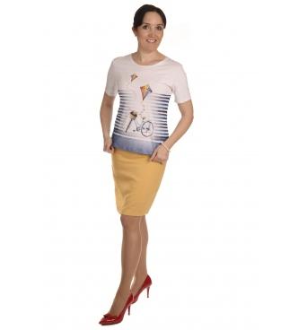K020-123  - dámské tričko kolo bílé