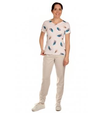 K020-107 - dámské tričko modrá pírka