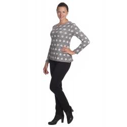 K020-868 - dámský antracitový svetr s puntíky