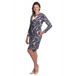 K020-866S - dámské šaty florální vzor v šedorůžové