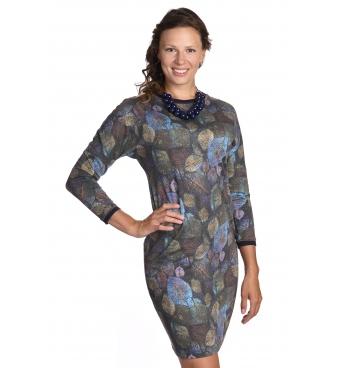 S207-513 - dámské šaty barevné listí
