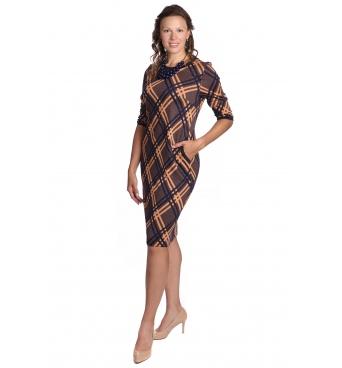 Il Tutto - dámské šaty oranžovo modré pruhy